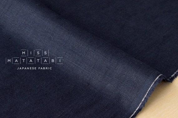Japanese Fabric 100% brushed linen - navy blue -  50cm