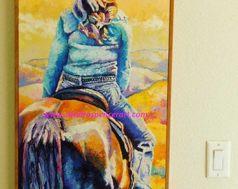 "Original Cowgirl and Horse Oil Painting 18""x36"" by Sandra Spencer"