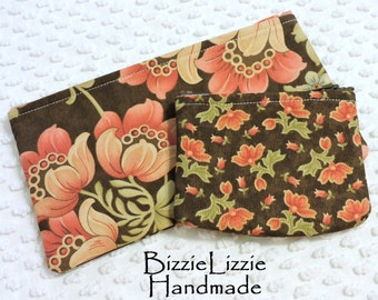 Matching Slim Cosmetic Pouch and Change Purse Zipper Pouches Set, Fabric Purse Organizers, Handmade Brown and Coral Pink