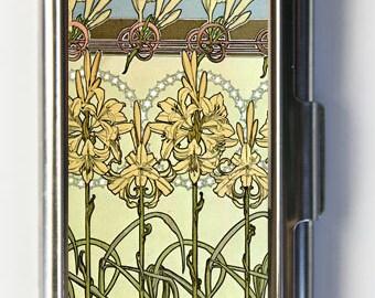 Art Nouveau Lilies Flowers Business Card Holder Card Case