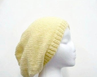 Yellow knit slouch hat handmade large size   4701