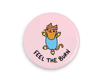 Cute Pinback Button Feel the Burn Fitness Cat Fitness Motivation Kawaii Cat Pin Badge Magnet Pink Button