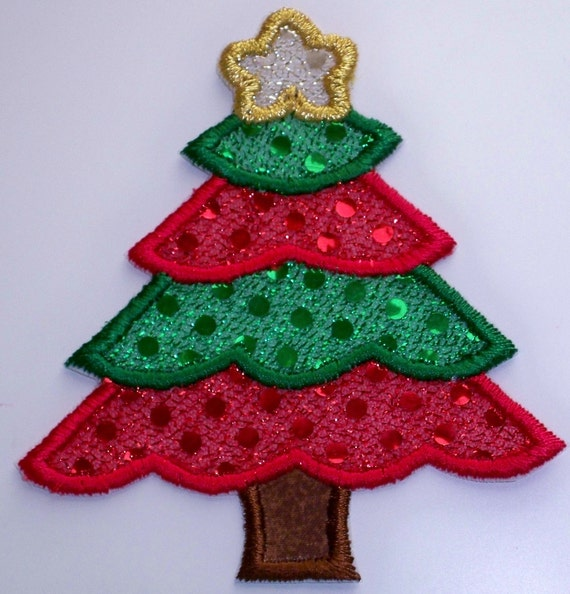 Christmas Tree Patch: Christmas Tree Iron On Or Sew On Fabric Applique Patch In Red