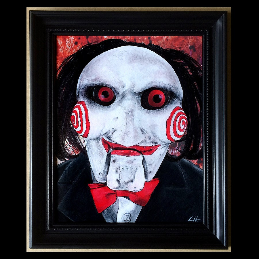 Let The Game Begin Original Drawing Billy Saw Jigsaw