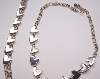 Necklace Set Earrings to Match, Hearts, Metal, 1950