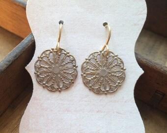 Brass Lace Earrings