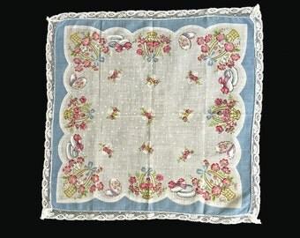 Vintage Hanky, Hankie, 1950's, Pink Floral Print, Blue Border, Lace Edges, Cotton