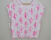 Pink cactus print t shirt. Block printed on organic modal spandex jersey. xs,s, m, l