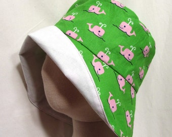 Pink Whale Sunhat with SPF50+ Lining Fabric and Velcro Straps 7 SIZES!