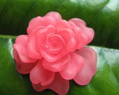Watermelon Pink Lucite Large Rose (1) b1351