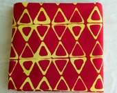 Kayak Hand Dyed and Patterned Cotton Fabric/ Yellow and Red