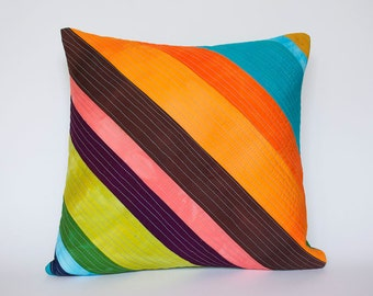 Super String Hand Dyed and Patterned Patchwork Pillow Cover