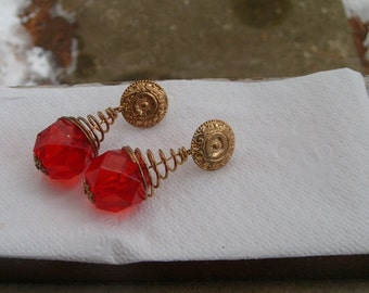 Vintage big and bold earrings (brass findings all original) from 1970s