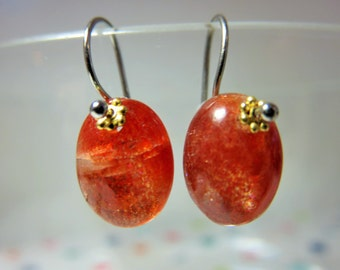 Natural Orange Sunstone Smooth Oval Briolettes and 14K Solid White Gold Earwires