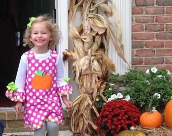 Pumpkin Applique Monogram Pink Polka Dot A-Line Dress Fall Thanksgiving
