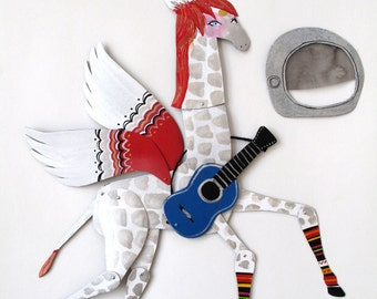 Ziggy Stardust / Hand Painted Articulated Decoration  / Bowie Tribute