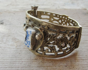 Ornate Pearl Cuff Vintage Bracelet Beach Tile and Pearls Delft Blue Pottery