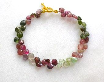 Vibrant Rainbow Tourmaline Briolette Bracelet in 22kg vermeil