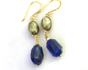 Very Fine Lapis Nuggets, Pyrite Accented Gemstone Earrings...