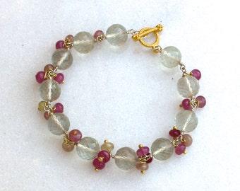 Prasiolite, Umba Sapphire, Ruby Linked Bracelet in 14kg fill