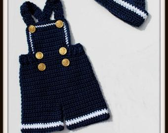 Crochet Bibs - Crochet Sailor Hat Pattern -Patriotic Crochet Pattern - KrissysWonders - Crochet Shorts Pattern