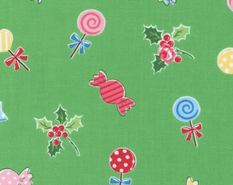 Sale (40%) HALF YARD Flower Sugar Holiday Collection - 31328-60 Candy, Roses and Holly on KIWI Green - Lecien Japanese - Cookies Christmas