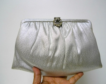 50s silver evening clutch / handbag