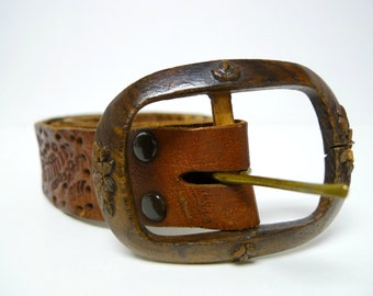 WOODEN HEART . carved wooden buckle and tooled leather belt . handmade in Mexico . xl