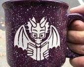 Book Dragon Purple Camping Mug