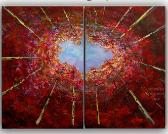 Tree art Oil painting Looking Up red forest on wrap canvas Ready to hang by tim Lam 48x36