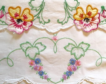4 Embroidered Pillow Case Front Panels for Finishing - Crafting - Quilting - Sewing