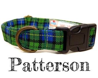 "Green Yellow Blue Plaid Dog Collar - Preppy Dog Collar - Boy Dog Collar - Organic Cotton - Antique Brass Hardware - ""Patterson"""
