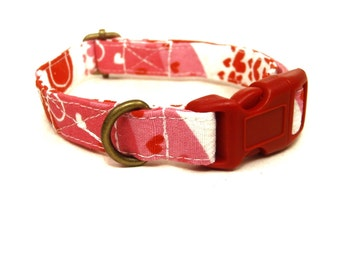 Love Song - White Pink Red Wave Hearts Love Girl Valentine Organic Cotton CAT Collar - All Antique Brass Hardware