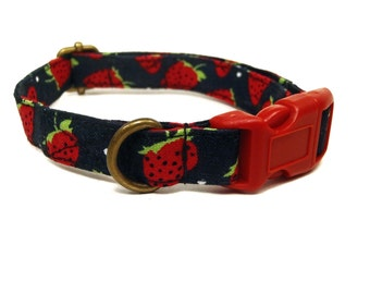 Strawberry Fields - Black White Dot Red Strawberries Summer Vintage Organic Cotton CAT Collar - All Antique Brass Hardware