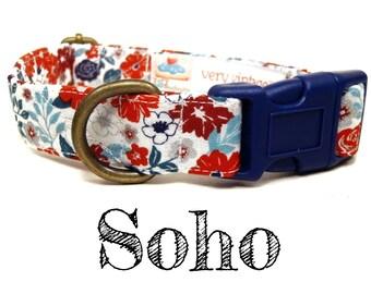 "Vintage Dog Collar - Floral Dog Collar - Girl Dog Collar - Flowers Dog Collar - Antique Brass Hardware - ""The Soho"""