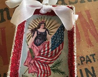 Shadow Box Ornament - Patriotic Lady Liberty