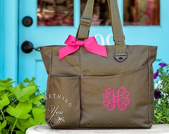 Monogrammed Super Feature Tote - Personalized Solid Color Book Bag Bridesmaids Teacher Bag Travel Briefcase Monogram Initials Diaper Bag