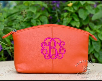 Orange Monogrammed Leather Cosmetic Bag - Personalized Leather makeup case, monogrammed bridesmaids bags, natural leather make up bags