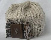 Chunky Knit Hat Oatmeal Animal Print Bow
