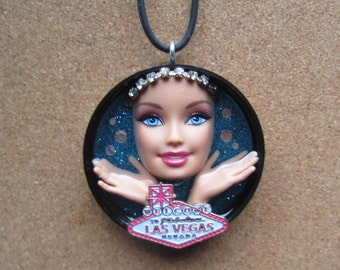 Welcome to Fabulous Las Vegas Nevada -upcycled Barbie necklace