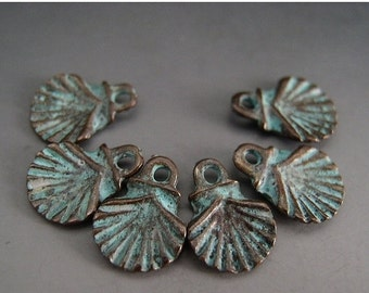 BIG SALE Naos Mykonos Beads Greek Beads Small Scallop Shell Charms Antiqued Green Patina (6 charms)