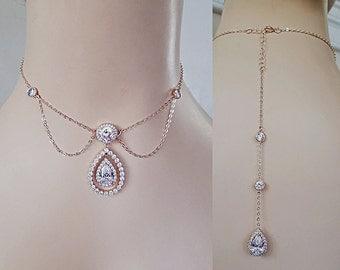 Unique Back Drop Bridal Necklace Cubic Zirconia Diamante Couple Teardrop Necklace Vintage Inspired Wedding Jewelry Cocktail Jewelry