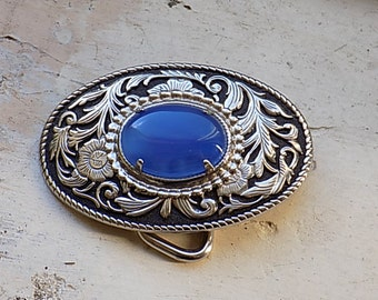 Vintage Silvertone Floral Belt Buckle with Blue Stone Cabachon