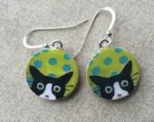 Cat Earrings - Cat Jewelry - Mylo Seeing Spots Earrings - Tuxedo Cat Earrings - Gift for Cat Lover - Gift for Her