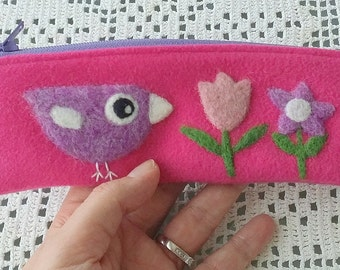 Zippered pouch pencase fuchsia pink with a needle felted violet birdie bird and flowers