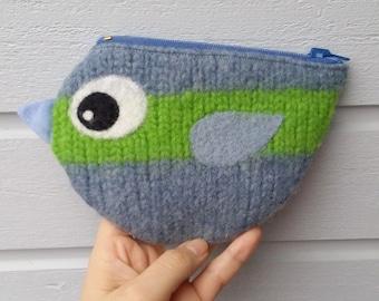 Zippered coin purse pouch purse felted wool blue green birdie bird