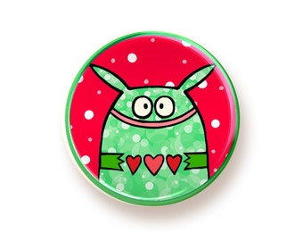 Paper Heart Monster- round magnet