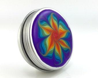 Medium Flower Treasure Box - Rainbow Flower Jewelry Box - Screw Top Trinket Box - Round Metal Pill Box - Handmade #146 - Ready to Ship