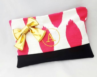 Pink and white Monogrammed clutch, ikat, Gold letters, bridesmaid gift, cotton clutch, makeup pouch, personalized gifts zipper bag, bow