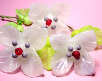 A HUGE handmade lampwork IRIS SET in white with 2 leaves